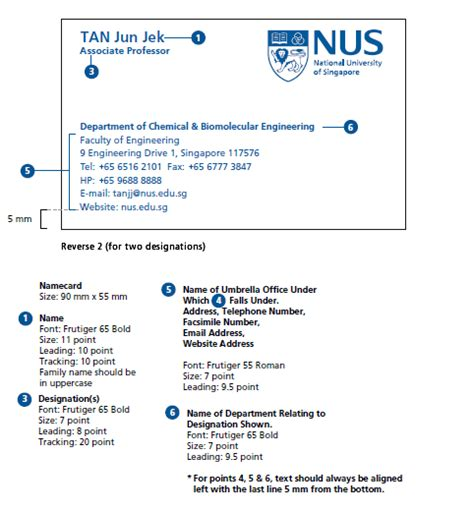 Business Card Template Two Addresses by Nus National Of Singapore Identity