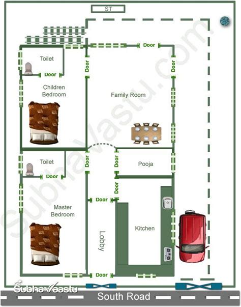 south facing home vastu plan subhavaastu
