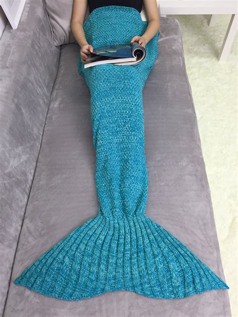mermaid tail sofa blanket keep warm acrylic knitting mermaid tail sofa blanket in