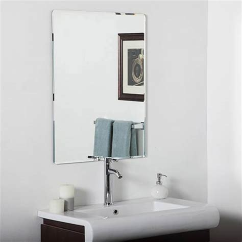 frameless beveled bathroom mirrors rectangular frameless mirror bellacor