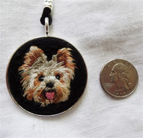 yorkie carries out of store yorkie embroidered necklace aftcra