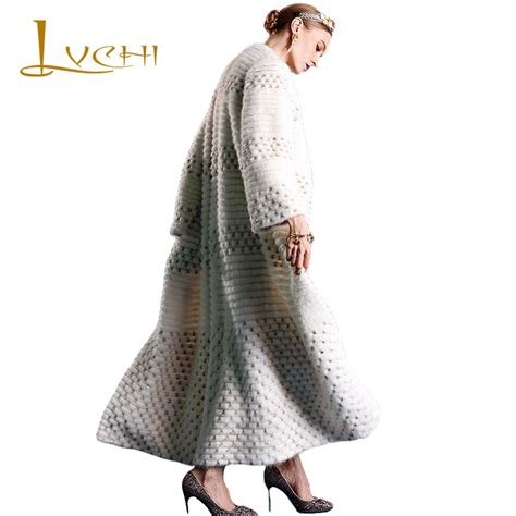 Klp130 Black Ellegent Fashion Wanita Impor lvchi 2017 fashion tunic import fur mink coats white mink coat robe femme coat