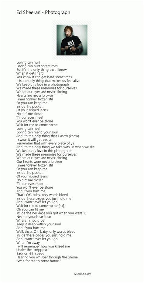 ed sheeran photograph lyrics ed sheeran photograph lyrics pdf 12lyrics