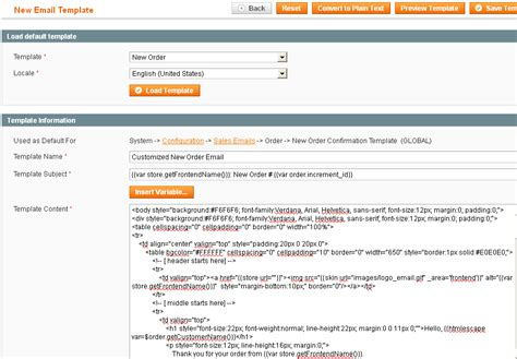 how to layout a email customize new order email template in magento webspeaks