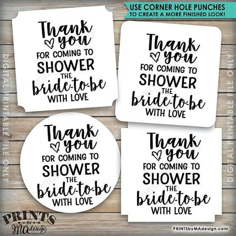 Bridal Shower Thank You Labels bridal shower thank you tags thank you for coming to