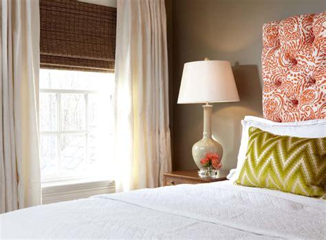 taupe walls in bedroom orange tufted headboard contemporary bedroom carey