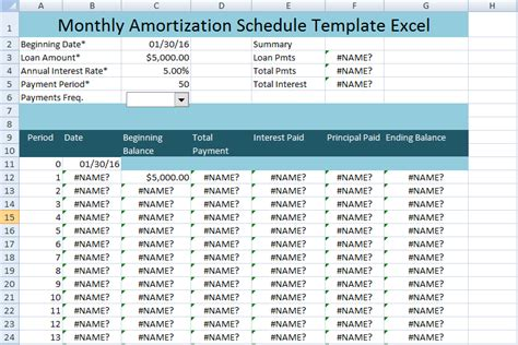 monthly amortization schedule excel template uk project