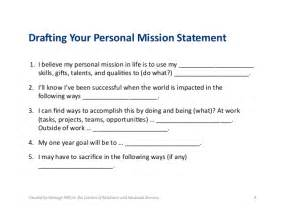 personal mission statement template 1 5 drafting your personal mission statement
