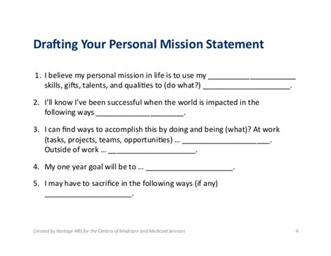 personal mission statement worksheet photos toribeedesign