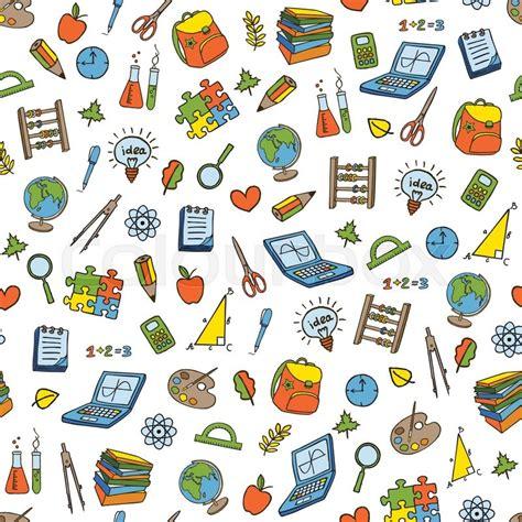 pattern design school back to school doodle seamless pattern cartoon sketchy