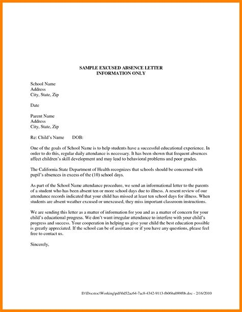 Sle Letter Of Student Absence From School 7 Excuse Letter Sle For Being Absent In School Fancy Resume
