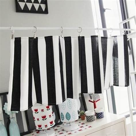 black and white stripe curtain kitchen curtain