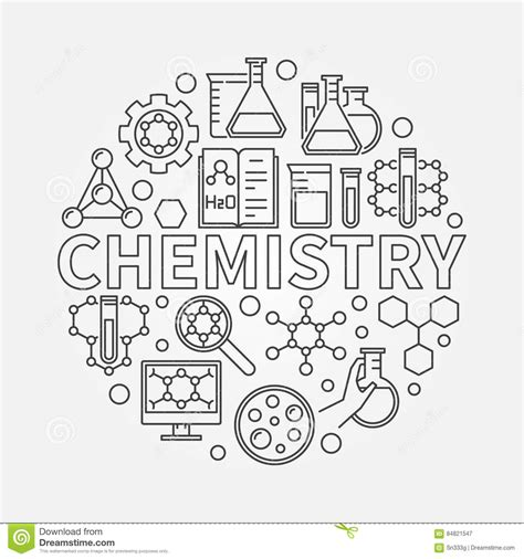 Chemistry Coloring Page Chemistry Line Round Illustration Stock Vector Image by Chemistry Coloring Page