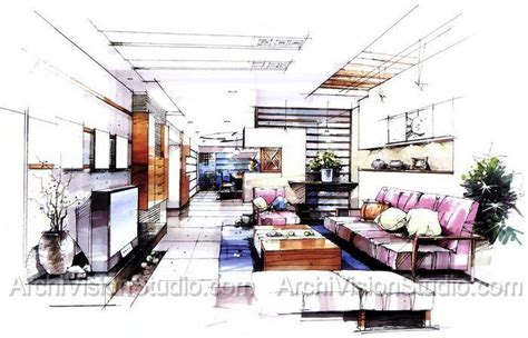 Marker Rendering Interior Design by