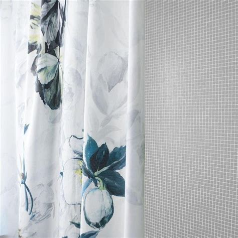 Elegant blue and gray shower curtain flower printed white shower curtain myvnc wallpaper and