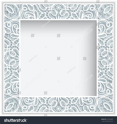 Paper Lace Templates Card by Square Frame With Cutout Paper Lace Border Ornament