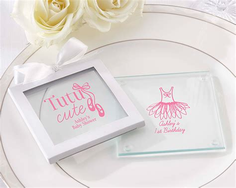 Baby Shower Favors Canada by Personalized Glass Coaster Favors Tutu Set Of 12