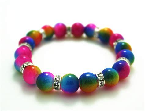 glass bead bracelet 10mm rainbow color glass bead 8mm spacer bead
