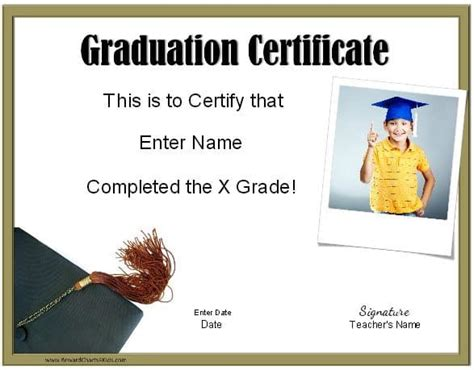 School Graduation Certificates Customize Online With Or Without A Photo Graduation Certificate Template
