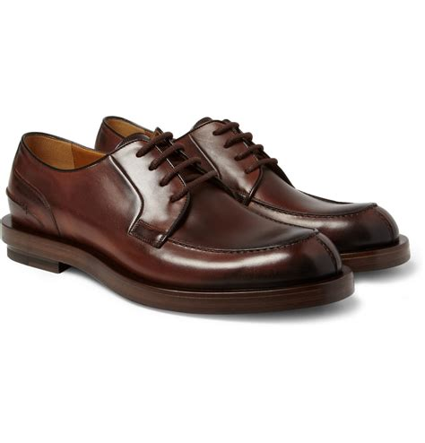 gucci leather split toe derby shoes in brown for lyst