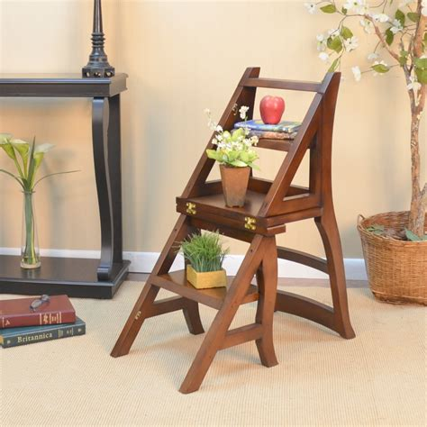 Oak Step Stool Chair by Hometech2u Wooden Step Ladder Dining Chair Library Step