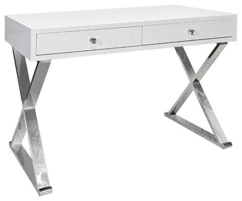 white desk with silver legs away two drawer desk with quot x quot legs jared silver