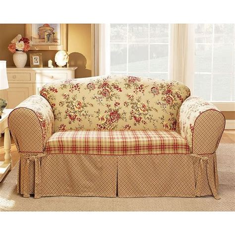 floral sofa slipcover plaid and toile google search slipcovers pinterest