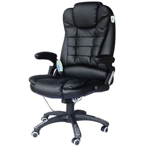 cuir bureau fauteuil de bureau cuir noir massant et chauffant ebay