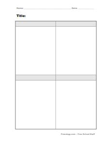 blank four square graphic organizer