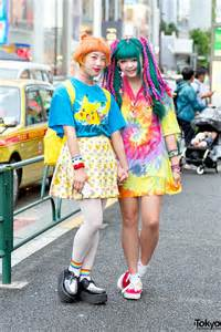 harajuku girls w colorful hair in pokemon fashion amp tie dye
