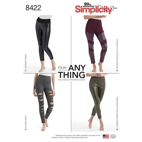 virginia leggings pattern review simplicity 8422 misses knit leggings with front varaitions