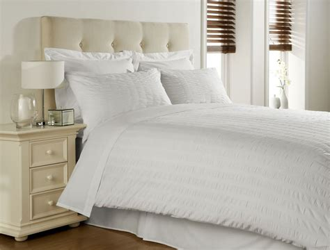 white cotton blend seersucker double duvet comforter cover
