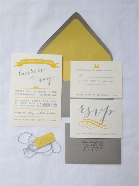 Wedding Invitations Yellow And Grey by Grey And Yellow Wedding Invitation Suite Sle Pack