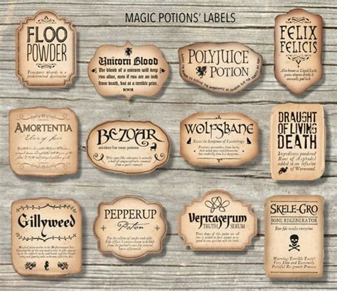 Free Printable Potion Labels