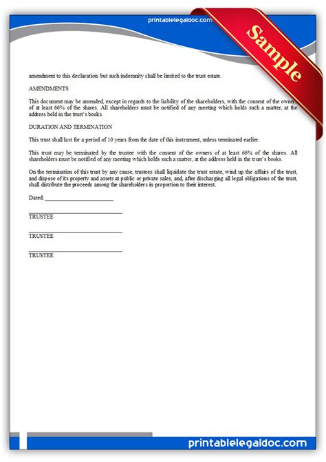 Free Printable Business Trust Form Generic Business Trust Template