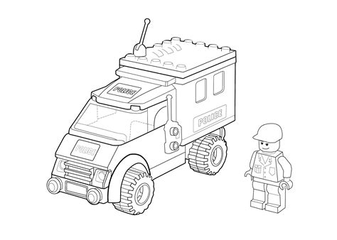 Coloring Page Lego Police | lego police car coloring page for kids printable free