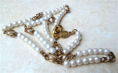 Faux Pearl Necklace vintage faux pearl necklace by