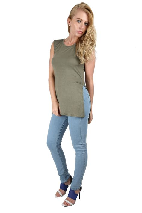 Tshirt Pria Low sleeve casual open side high low split t