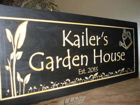 gardening gifts wooden carved sign greenhouse signs