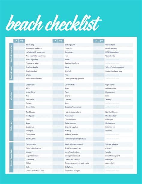 sle packing list vacation packing checklist teacheng us