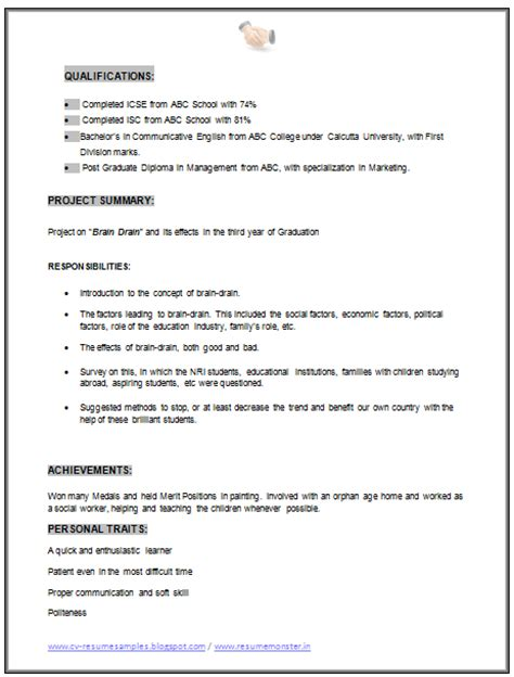 mba marketing fresher resume format 10000 cv and resume sles with free mba marketing resume sle doc