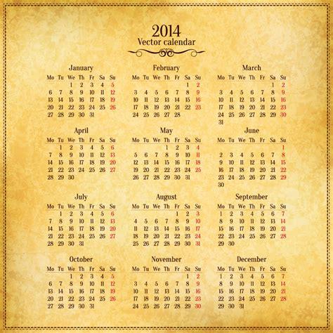 Calendario Retro Calendar 2014 Retro Scrolls Vector Free Vector Graphic
