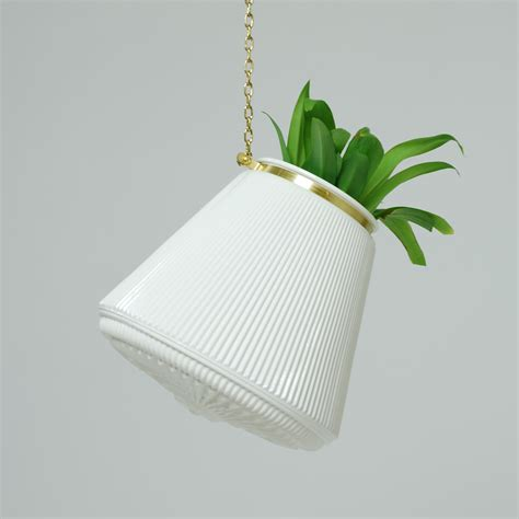 white hanging planter carl rose large white striped hanging planter