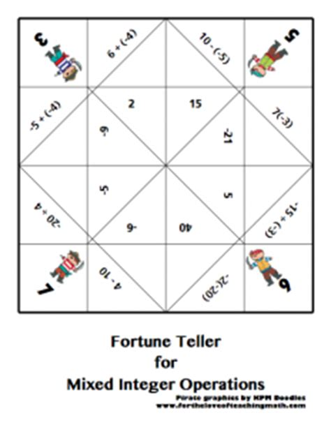 multiplication fortune teller template teaching with cootie catchers lessons4now