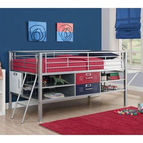 junior twin loft bed dhp junior metal twin loft locker storage bed in red and