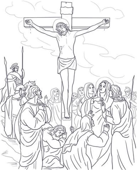 coloring page jesus on the cross sketches of jesus on the cross coloring pages