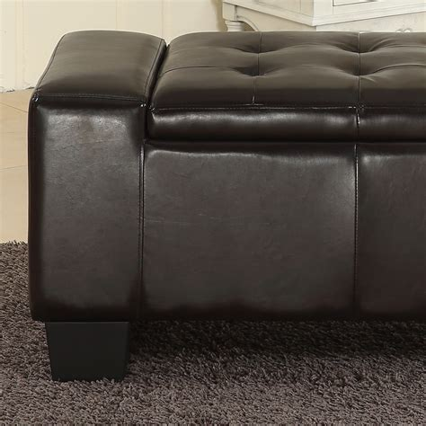 large storage ottoman leather new 51 quot elegant black faux leather solid rectangular large
