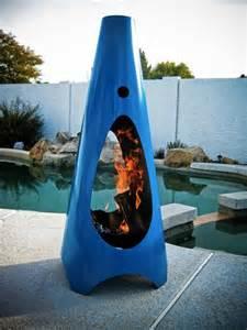 Modern Chiminea Jetson Green Steel Outdoor Fireplace By Modfire