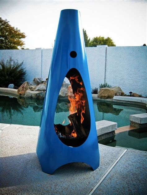 Cool Chiminea Jetson Green Steel Outdoor Fireplace By Modfire