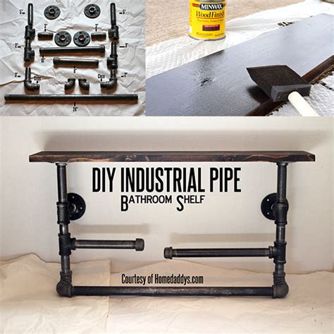 industrial pipe shelves tutorial they work great anywhere diy industrial pipe bathroom shelf guest post upcycled treasures